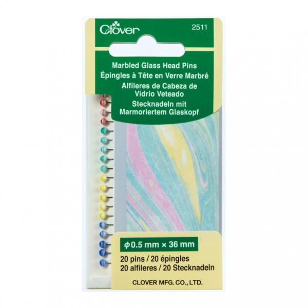 Clover Marbled Glass Head Pins Pk 20