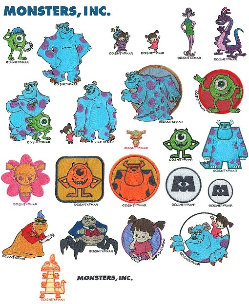 Brother Embroidery Card Disney Monsters Inc.