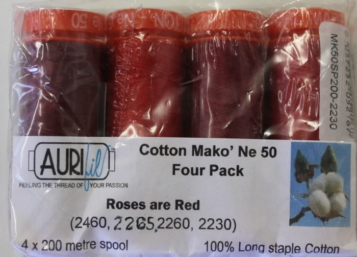 Aurifil 4 Pack 50w 200m: Roses Are Red